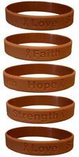 5 Brown Anti-Tobacco Awareness Bracelets - High Quality Silicone Bracelets