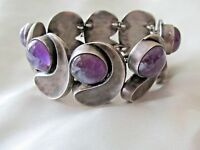 Antonio Pineda Mexican Modernist Bracelet amethyst cabochons Silver 1950's