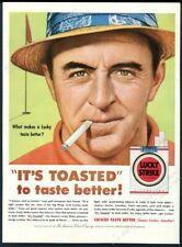1954 Sam Snead golf course pic Lucky Strike cigarettes vintage print ad