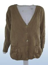 soft wool cardigan maglione donna marrone made italy lana xl extra large