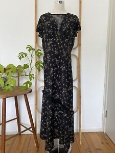 Stunning FOREVER NEW 'SPRING DITSY' black floral maxi dress size 14 BNWT