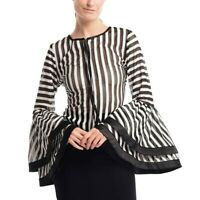 Gracia Crochet Stripe Bell Sleeve Zip Front Top - Size S - Free Shipping