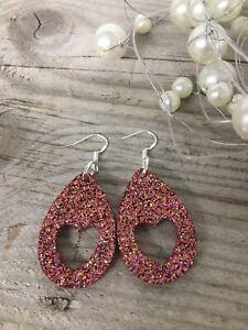 Handmade Resin Statement Earrings -  Rose Gold Glitter Heart