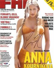 Anna Kournikova Sexy Signed Auto FHM Magazine Cover 8x10 PHOTO PSA/DNA COA