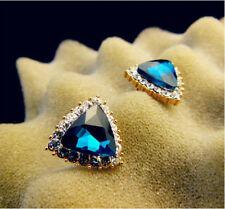 1 Pair Alloy Fashion Women Rhinestone Blue Gem Stone Ear Stud Earrings Jewelry