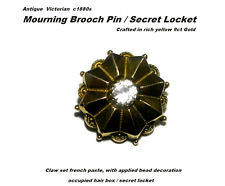 Victorian 9ct Gold Mourning Brooch / Secret Locket Yellow Gold c1880s Antique