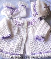 Baby cardigan coat DK knitting pattern, Girl Matinee set Romany bonnet booties