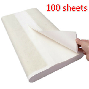 100 PCS Japanese Calligraphy Paper for Chinese Painting Raw (54.33 x26.77 inch)