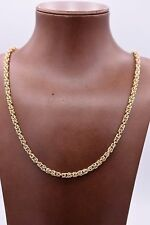 "24"" 4mm Shiny Square Byzantine Chain Necklace 14K Yellow Gold Clad Silver 925"