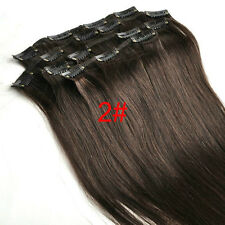 "Premium Clip In Remy Human Hair Extensions Full Head 15""7PCS Straight Dark Brown"