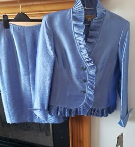 Kasper Evening Size 8 Blue Ruffle Satin Skirt Suit NWT