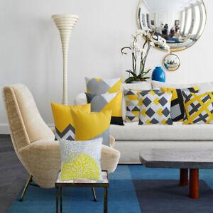 HQ 18 inch / 45cm  20 inch / 50 cm  Mustard Yellow Geometric Sofa Cushion Cover