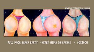 DEBORAH BROUGHTON ART Fun Beach Bums Full Moon Beach Party Mixed Media Painting