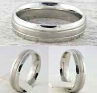 6mm Stainless Steel Mens & Womens Silver Plated Wedding Band Unisex Comfort Ring