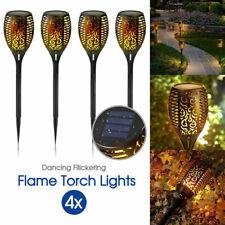 4X LED Solar Flickering Torch Path Light Dancing Flame Garden Landscape Lamp