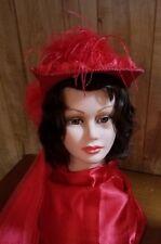 Red Hat Ladies - Smaller, Victorian Red Hat w/attached Train by Elsie Massey