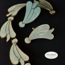 *Vintage Taxco Mexican Pale Blue Crushed Turquoise Sterling Leaf Earrings Screw