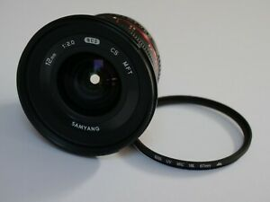 Samyang 12 mm F/2.0 NCS CS MFT Lens, as new, including Gobe 67mm UV filter