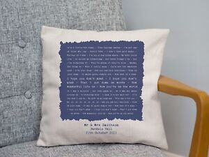 Ellie Goulding 'Your Song ' Personalised Cushion 2nd Cotton Anniversary Gift