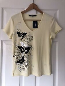 Casual Club Yellow Butterfly Print Embellished V Neck T Shirt Size 10 BNWT