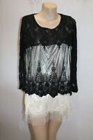 Unbranded White Black Mesh Lace Long Sleeve Dress Size S BNWT #SQ60