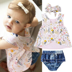 Clode/® for 2-7 Years Old Girls Cute Toddler Infant Baby Girl Floral Oblique Shoulder Tops and Shorts Pants 2PCS Outfit White