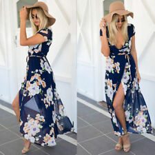 Plus Size Chiffon V Neck Maxi Dresses for Women