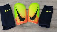 NIKE Mercurial Lite Football Shin Guard Pads  ADULT Green Orange  Medium D45211