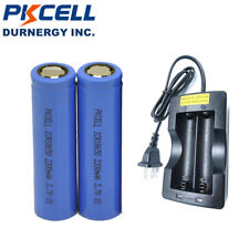 2 18650 Lithium Rechargeable Vape Mod Batteries 3.7V 2200mAh Flat Top +Charger
