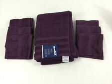 Martex Black Plum Bath Towel Set 1 Towel 6 Washcloth Eyptian Cotton NEW