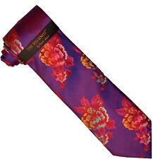 Steven Land BW617 Pink / Navy / Gold / White Flower Necktie / Handkerchief