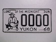 "1968 68 Yukon SAMPLE ZERO License Plate Tag ""LAND OF THE MIDNIGHT SUN"" Canada"