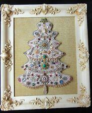 VINTAGE COSTUME JEWELRY FOLK ART CHRISTMAS TREE PICTURE ORNATE RHINESTONE PEARL