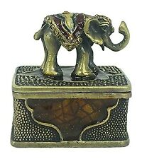 "Lucky Elephant Mini Pewter Trinket / Jewelry Box - Welforth - 1.5"" Tall"