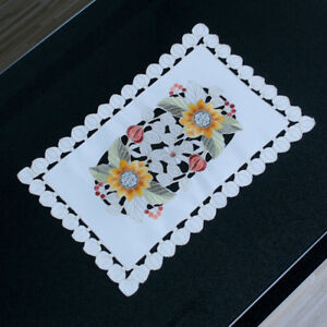 """Set of 4 Dining Table Place Mats Vintage Embroidered Lace Placemat Doily 12""""x17"""""""
