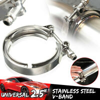 2.5'' Inch 63mm V Band Set Heavy Duty Clamp Flange Set Stainless Exhaust  #