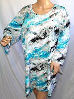 N Touch Women Plus Size 1x 2x Tie Dye Print Tunic Top Blouse Shirt White Teal