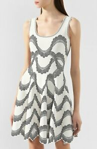 ALEXANDER MCQUEEN White Black Jacquard Knit Stretch Tank Party Cocktail Dress XS