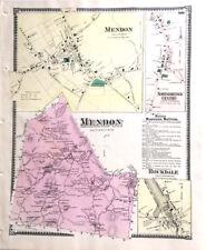 MAP 1870 MENDON ROCKDALE MASSACHUSETT ORIGINAL 1870 ANTIQUE COLOR BEERS ANCESTRY
