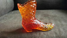 Fenton Art Glass Amber/Orange Daisy and Button High Heel Boot