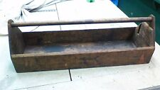 ANTIQUE TOOL CARRIER BOX TOTE TRAY CADDY  WOOD GARDEN BARN W HANDLE