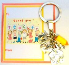 Thank you Gift Teacher at End of Term On Gift card Key Ring +Charms School ABC