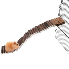New listing Hamiledyi Hamster Suspension Bridge,Wooden Ladder Bendable Cage Accessories for