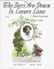 The Bars Are Down In Lovers Lane, by Clare Kummer, 1915, vintage sheet music