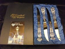 WATERFORD 4 PIECE STEAK KNIVES SET~IRELAND~SIGNED~SPOON FORK GLASSES