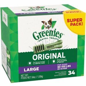 Greenies Dog Dental Chews Super Pack LARGE 50-100lbs, 34 Ct., Original, NEW BOX
