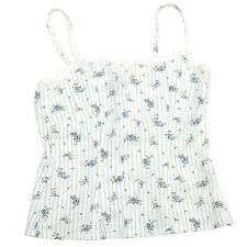 Maestro Womens White Laces Cami Singlet Blue Flowers Size 6