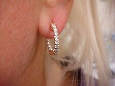 GORGEOUS 14K ROSE GOLD 1.40 CT DIAMONDS IN AND OUT LADIES HOOP EARRINGS