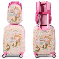 "18'' Carry On Suitcase Wheels & 12""Travel Backpack Mermaid 2PC Kids Luggage Set"