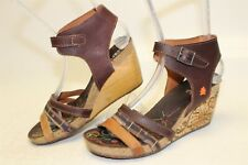 The Art Company Womens 37 7 Brown Leather Strappy Wedges Sandals Heels Shoes